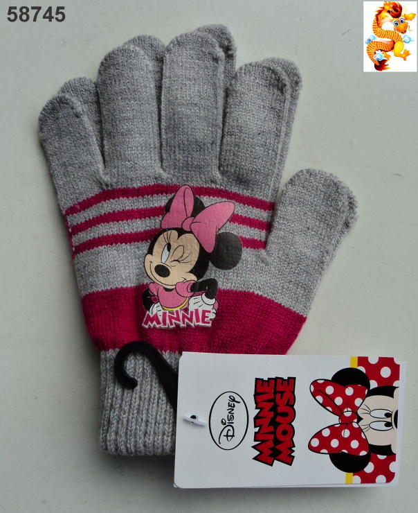 Pletené rukavice Minnie Mouse šedé